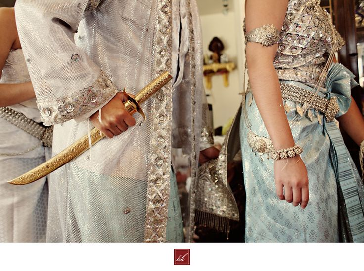 Khmer wedding outfits - Light Blue and Silver