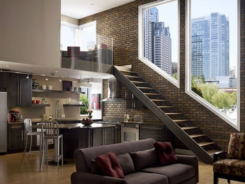 Great design, and sweet view.Dreams Apartments, Stairs, Open Spaces, Interiors, Loft Spaces, House, Exposed Brick, Expo Bricks, Loft Apartments
