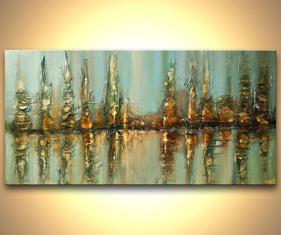 ORIGINAL Downtown Painting Modern Acrylic Palette by OsnatFineArt, $760.00