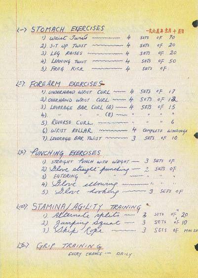 Bruce lees training schedule