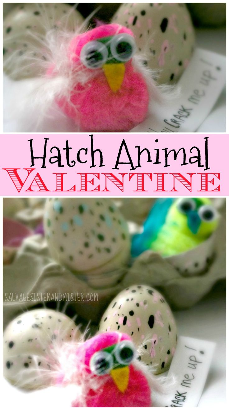 The lattest Christmas toy becomes a cute valentine with this DIY craft project. Easy for kids to make. Quick craft and perfect for kids to hand out at school or club. Lightning craft - hatch animal valentine. Inspired by hatchimals. Kids can make.