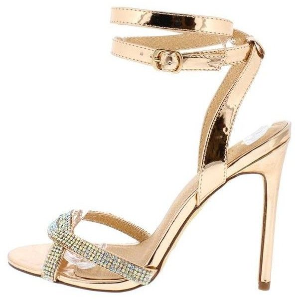 JULIE ROSE GOLD PAT RHINESTONE OPEN TOE STILETTO HEEL ($11) ❤ liked on Polyvore featuring shoes, flat wedge shoes, wedge flats, open toe wedge shoes, rose gold flats and open toe flats