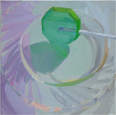 glass, transparent, pastel, still life, green, kitchen, painterly, contemporary, translucent karen o'neil
