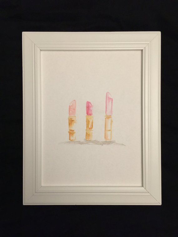 Lipstick Trio Vanity Art Watercolor Custom Quotes Original No