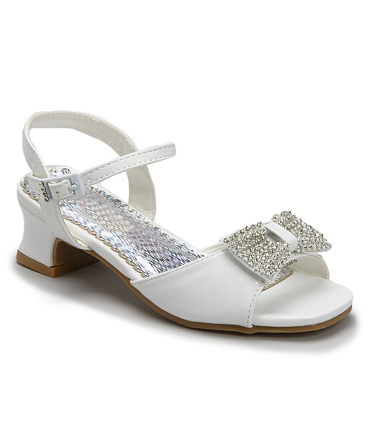Look at this Angels New York White Sparkling Bow Open-Toe Shoe on #zulily today!