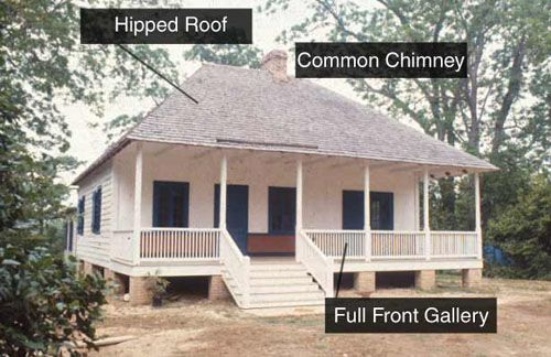 Hip roof creole cottage southern architecture for Beach house plans with hip roof