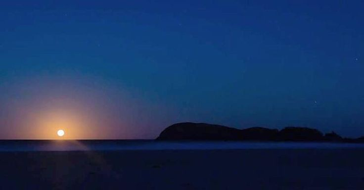 """""""For the first time in my life I saw a moonrise over the horizon line. Not just any moon mind you, a brilliant orange fire ball of a nearly-full-moon with…"""""""