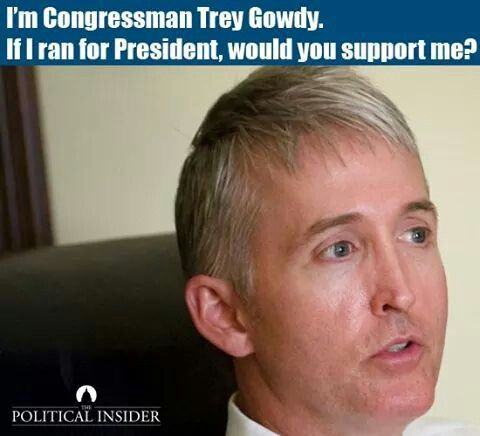 Trey Goudy for president?  I'd vote for him!