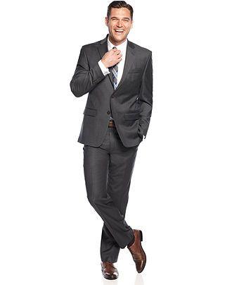 Lauren by Ralph Lauren Solid Charcoal Suit Separates - Suits & Suit Separates - Men - Macy's