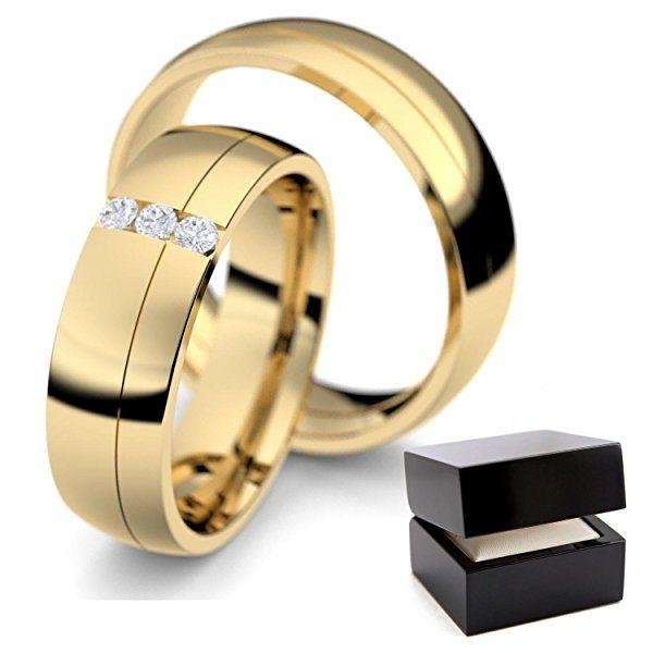 Eheringe Trauringe Gold Set Zirkonia Freundschaftsringe Paarpreis Verlobungsringe Partnerringe Silber hochwertig vergoldet Ringpaar Hochzeitsringe Paar Eheringe ER01VGGGZIFA