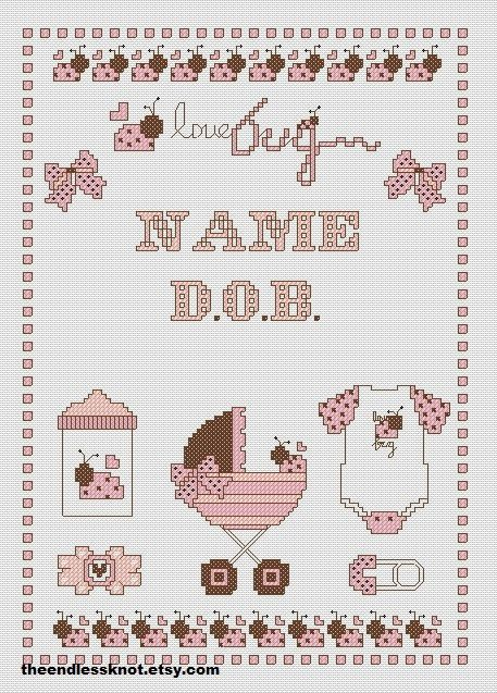 Personalised New Baby Birth Sampler Love Bug PDF by TheEndlessKnot