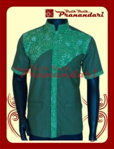 Koko Kombinasi Batik dengan Katun Ima Warna Hijau Daun
