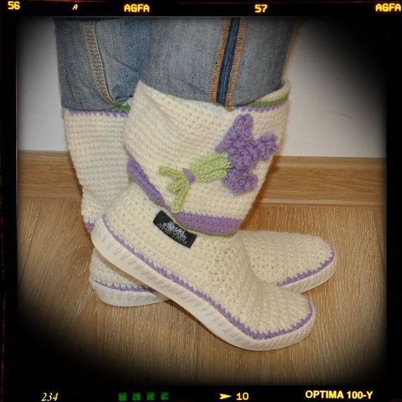 Crocheted Boots Crochet boots crochet cuffs Shoes for by ukicrafts, €45.00