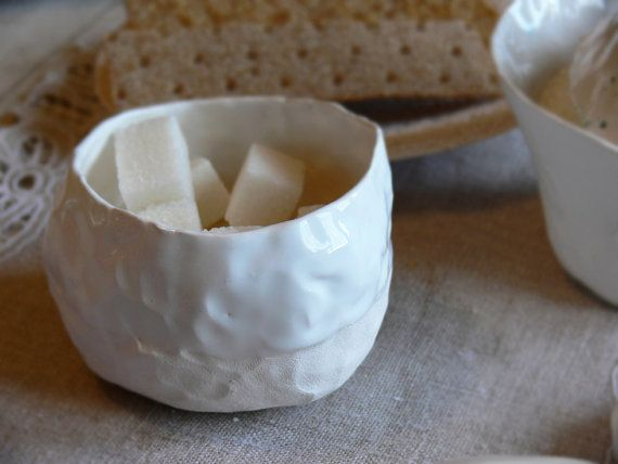 white sugar bowl handwork sugar bowl fingerprints von ZERAMIC