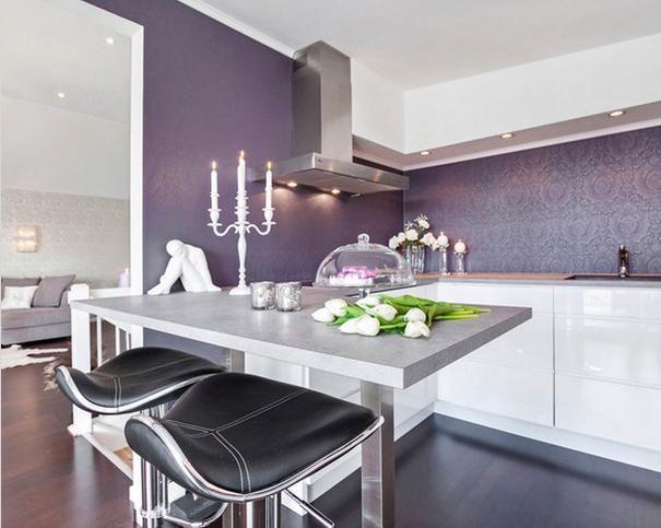 Purple accent wall in kitchen http://www.houzz.com/photos/kitchen/purple- walls- | My home - Kitchen | Pinterest | Purple accent walls, Purple  accents and ...