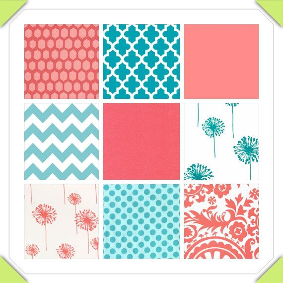 Custom Crib Bedding   2 piece Set   coral and teal. 71 best Coral  Teal  and Gray images on Pinterest