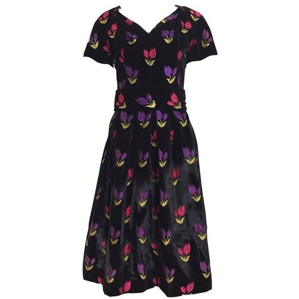 Preowned 1950s Black Velvet With Multi Color Embroidered Tulip... ($975) ❤ liked on Polyvore featuring dresses, 1950s, black, cocktail dresses, multi color dress, multi colored dress, colorful cocktail dress, sweetheart cocktail dress and colorful dresses