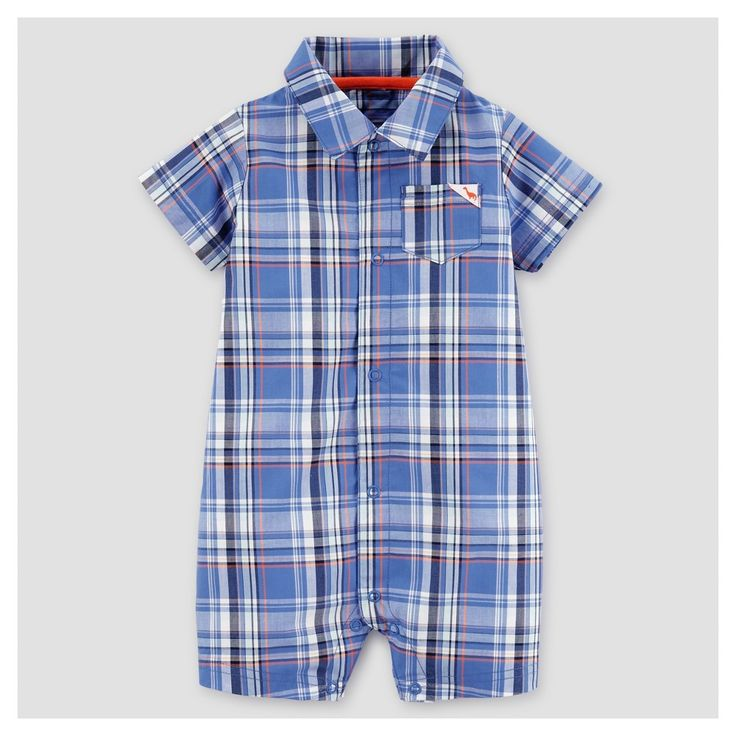 Baby Boys' Plaid Romper Blue/Red 12M - Just One You Made by Carter's