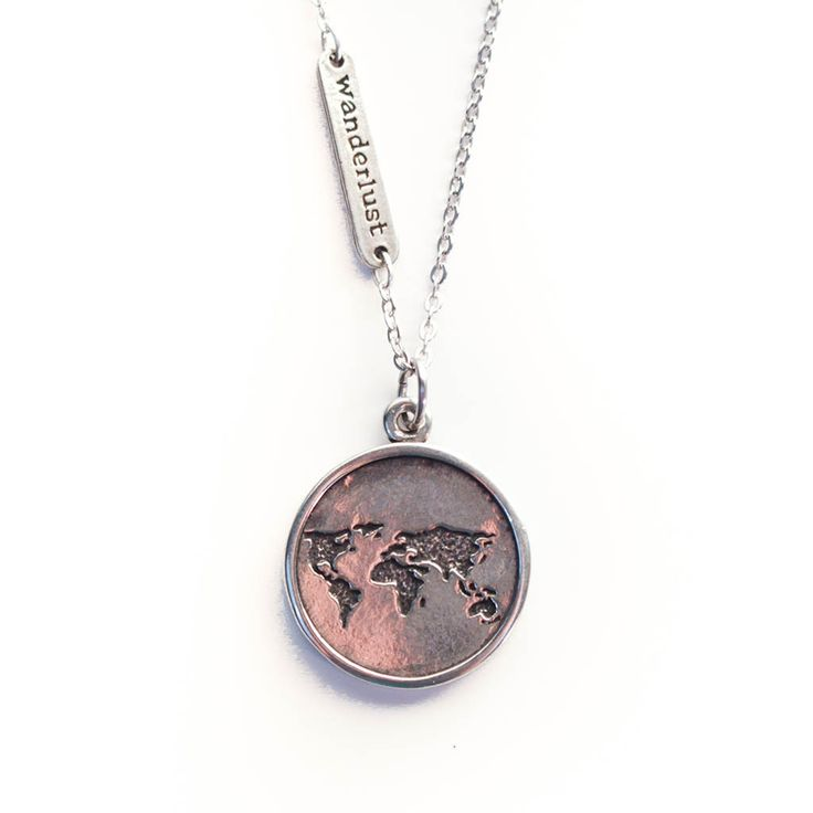 "World Necklace w/ ""Wanderlust"" Tag 