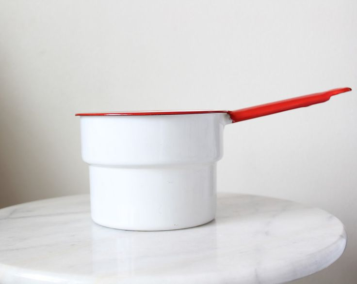 Vintage Enamel Pot | Red and White Saucepan | Enamelware | Mid Century Cookware | Farmhouse Kitchen | Wedding | Bridal Shower | Housewarming