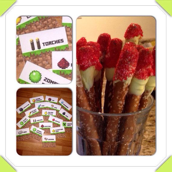 Minecraft Food Tent Signs - Redstone torches! Suggestion: Dip pretzel rods in yellow vanilla candy coating and then red sprinkles. Wa-la!