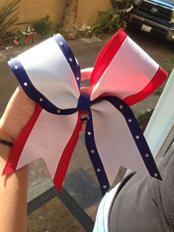 Red white and blue cheer bow by DespicableBowtique on Etsy