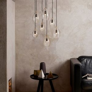 Glass Pendant Light with touches of Brass