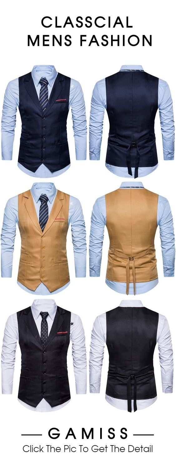 Turndown Collar Single Breasted Belt Edging Waistcoat