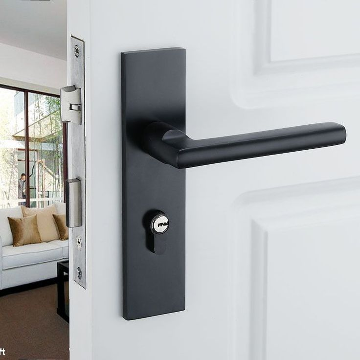Black Solid Space Aluminum Door Locks Continental Bedroom Minimalist Interior Door Handle Lock Cylinder Security Locks Packages