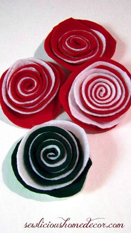 Easy felt flower tutorial using two colors of felt.  sewlicioushomedecor.com #flowers