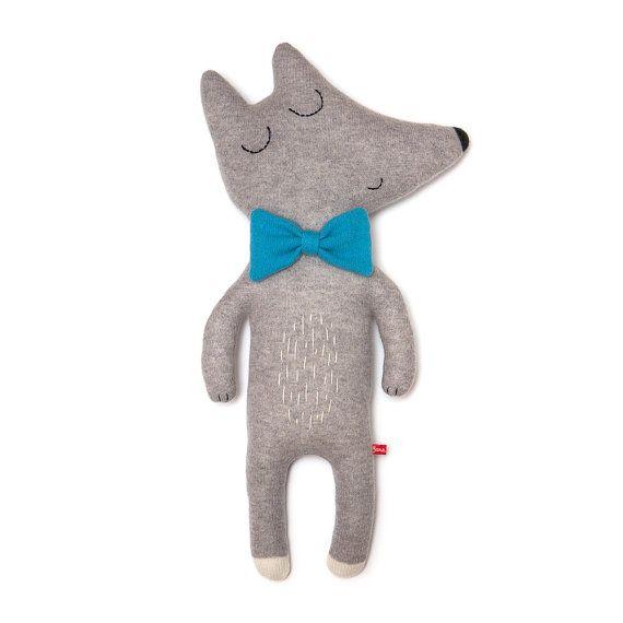 Señor Lobo grande juguete de felpa de lana hecho a la por saracarr