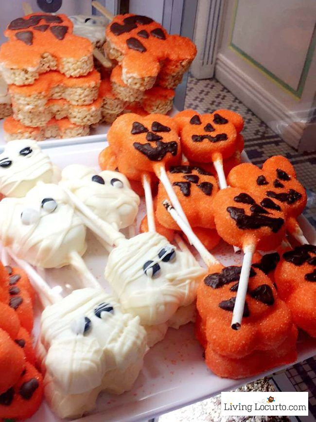 Disney World Magic Kingdom Halloween Cake Pops and Marshmallows - Mickey Mouse Jack-o-lantern and ghost treats