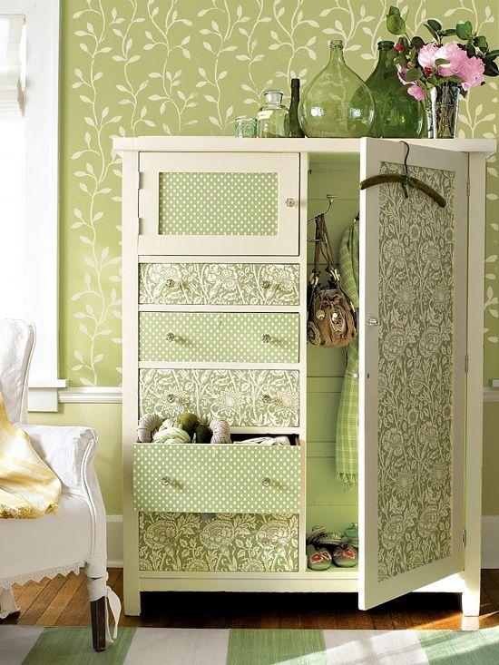 armario entelado o empapelado con difrentes estampados en un mismo tono
