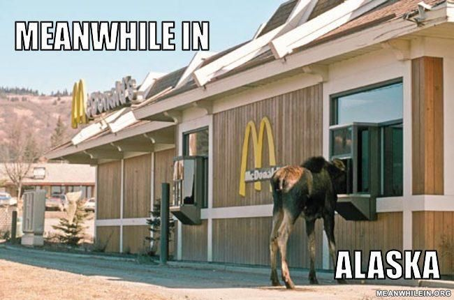 Cute...but maybe another pinner can help me out with which McDonalds this might be.  This is not Anchorage anyway....and the landscape doesn't look right for a lot of Alaska.  Still, cute joke, and this could definitely happen here.