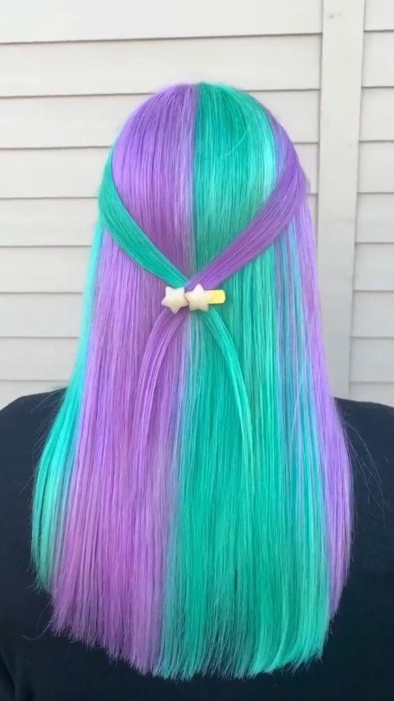Neon Hair Color, Unicorn Hair Color, Pretty Hair Color, Bright Hair Colors, Hair Dye Colors, Weird Hair Colors, Rainbow Hair Colors, Amazing Hair Color, Bright Colored Hair