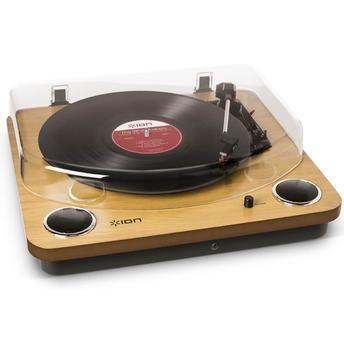 Toca-Discos Vinil Ion Max LP com alto falantes, conversão digital, tampa e saída RCA