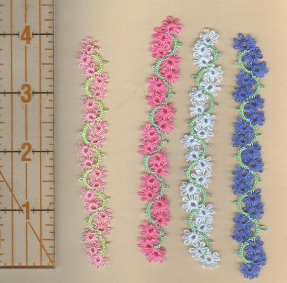 set of 4 tatted flower bookmarks reduced price by donatajones, $10.00