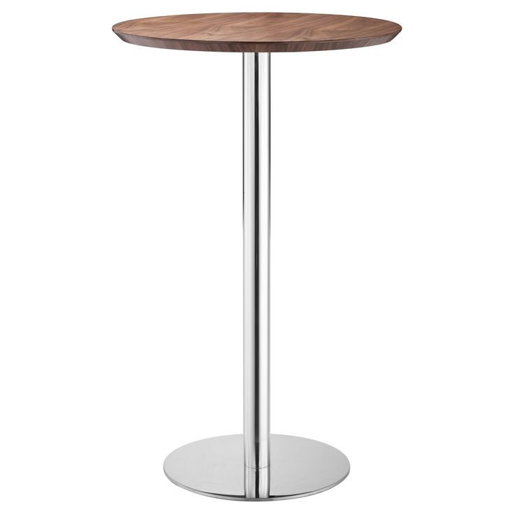 Elegant Chromed Steel 41 Round Bar Table - Walnut (Brown) - ZM Home