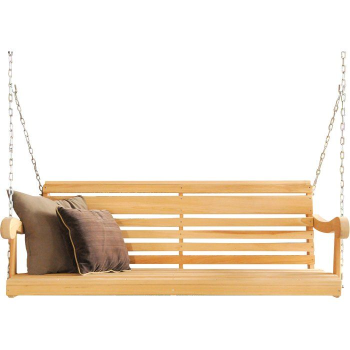 A minimalist yet charming design, the Charlton Home® Porch Swing is a brilliant addition to your garden or porch. The swing is constructed using Cypress wood that ensures years of utility and durability. The swing is burnished with a rich natural finish and will complement Scandinavian settings. It has a comfortable contoured back and seat, and includes an adjustable heavy duty chain for 9' porch ceiling. The Porch Swing by Charlton Home® is eco-friendly and has minimal impact on the envi...