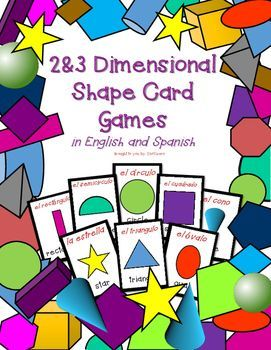 Learn the names of two dimensional and three dimensional shapes with these fun and engaging card games! Included in this resource are:  20 different shapes (fourteen 2D and six 3D) 3 sets: English only, Spanish only, & English and Spanish Directions for three different card games: Old Maid, Go Fish, and Concentration   1 Student Rules Poster If you liked this product, you might also enjoy these products: Bilingual Illustrated Word Wall Cards: FamilyBilingual Illustrated Word Wall Cards: C...