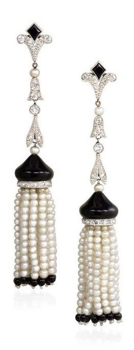 A pair of Art Deco platinum, diamond, onyx and pearl tassel earrings, French, circa 1920. #ArtDeco