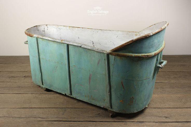 Salvaged French Zinc Bath on Castors