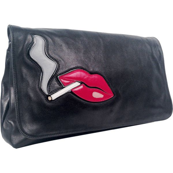 Pre-owned Prada Nappa Leather Smoking Lips Clutch ($1,695) ❤ liked on Polyvore featuring bags, handbags, clutches, handbags and purses, fold over purse, fold over handbag, foldover purse, lips purse and pre owned handbags