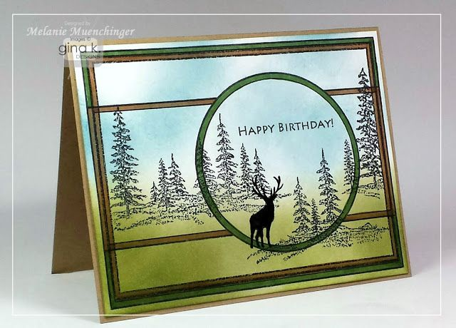 holiday frame and framescape winter trees stamp sets from ginakdesignscom beamsderfer bright green office
