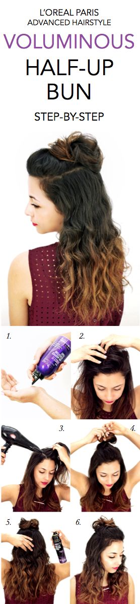 How to get a Voluminous Half-Up Bun: 1. To make the half bun bigger, hold the Boost It Volume Injection Mousse upside down and dispense it into palm, applying to dry roots at crown of head. 2. Blow dry hair at roots while gently tousling with fingers. 3. Section off hair at crown and secure into a loose bun. 4. Lift sections of hair that is down and spray Boost It High-Lift Creation Spray to finish look. 5. (Optional) curl ends into a wavy loose curl for additional volume
