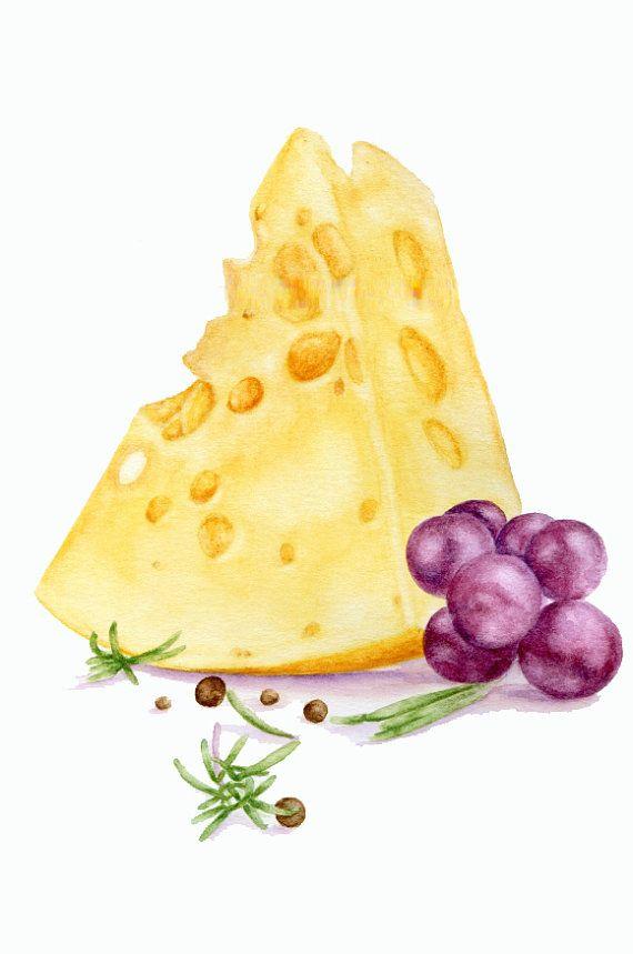 ORIGINAL Painting - Grapes and cheese (Food Watercolors Wall Art, Still Life)