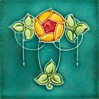 Art Deco-style flower tile