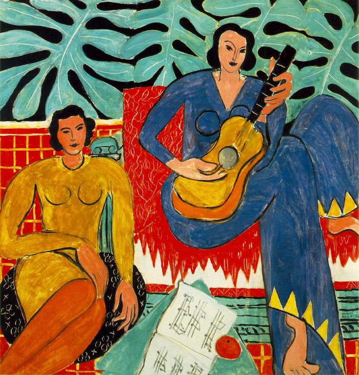 Matisse: Image La Musique 1939 (180 Kb); Oil on canvas, 115.2 x 115.2 cm (45 3/8 x 45 3/8 in); Albright-Knox Art Gallery, Buffalo, NY