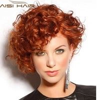 Short Curly Hair Full Wig Heat Resistant Wigs For Women (Color: Red)