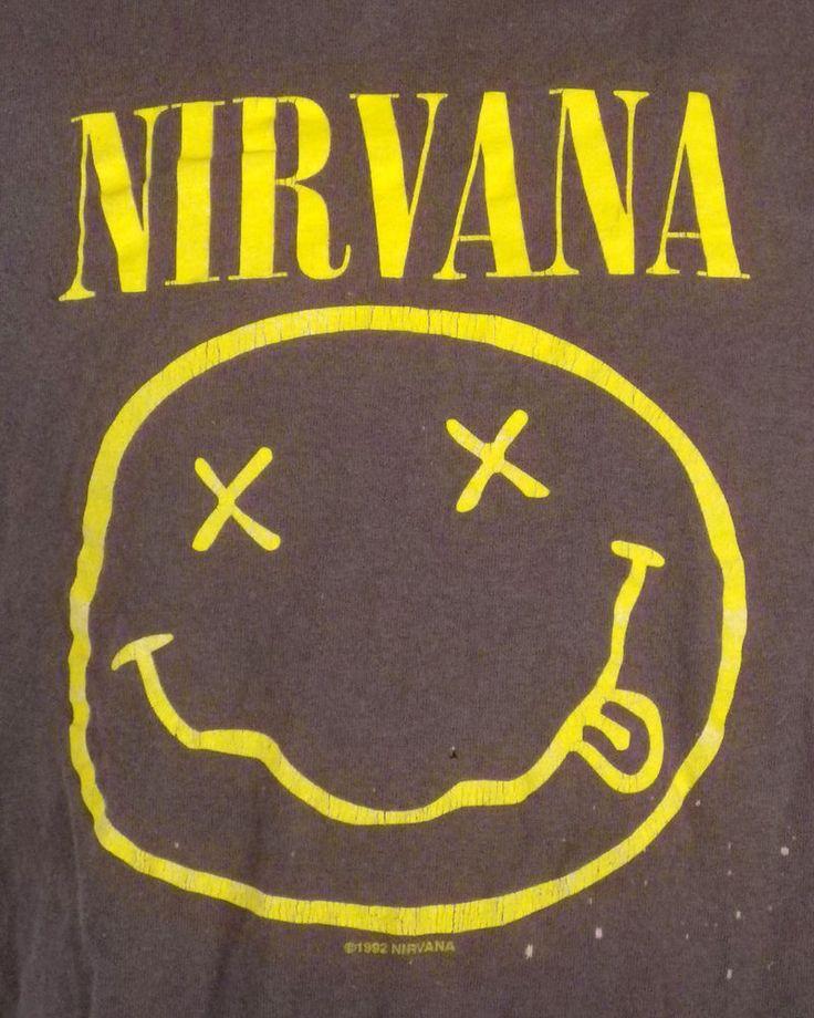 vtg 90s Nirvana Smiley Face T-Shirt 1992 soft Kurt Cobain Melvins Dinosaur Jr XL
